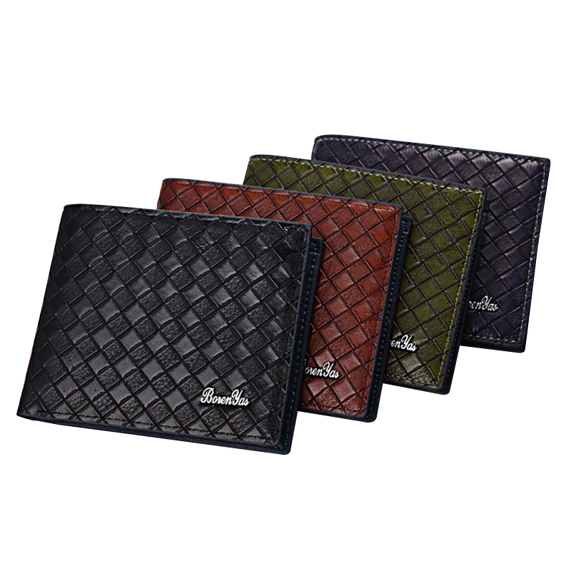New arrival Casual knitting pattern Men's leather wallet Short card holder for man choice male purse 4 colors new arrival ship pattern design brooch for female