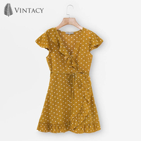 Vintacy 2018 New Women Mini Dress Summer Yellow Falbala V Neck Lace Up Polka Dots Pullover