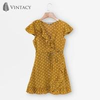 Vintacy 2018 New Women Mini Dress Summer Yellow Falbala V Neck Lace Up Polka Dots Pullover