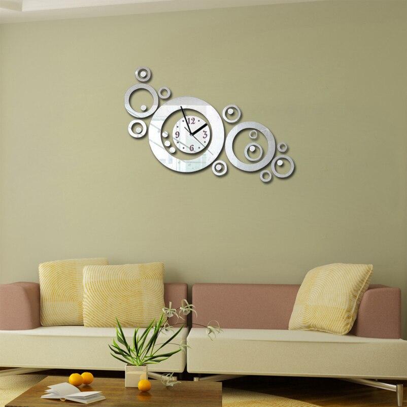 2017 New 3d Diy Acrylic Mirror Clock Wall Clocks Horloge