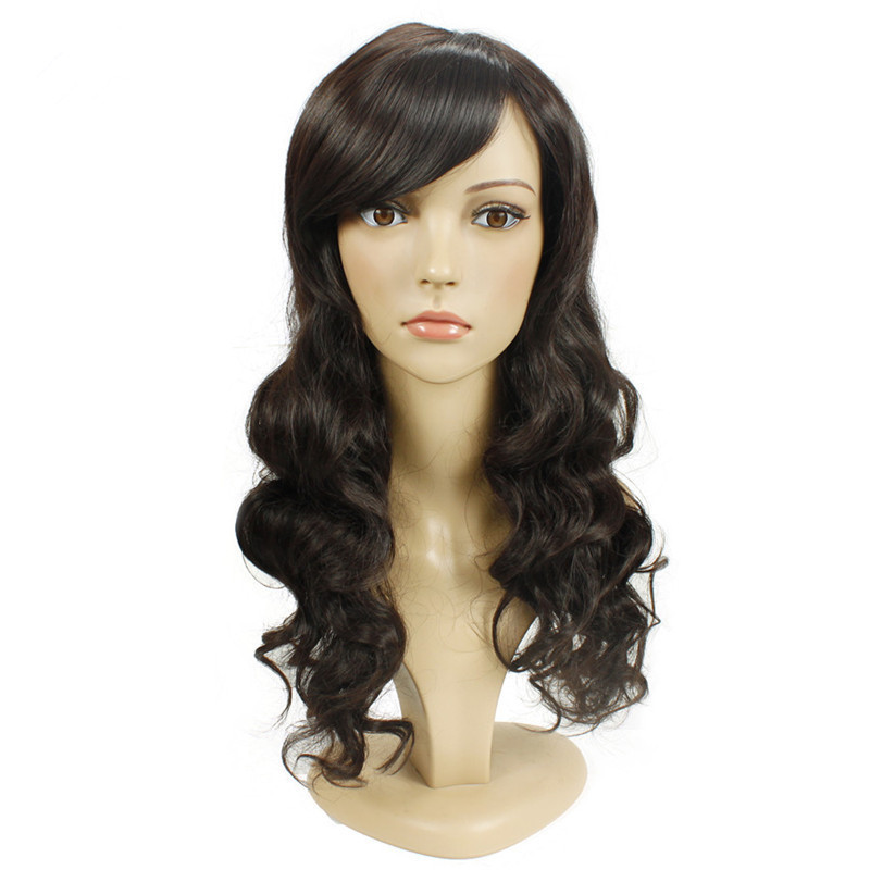 Soloowigs Loose Wave High Temperature Fiber Dark Brown Long Full Lace Wigs Female Inclined Bangs Synthetic Hair Perruque