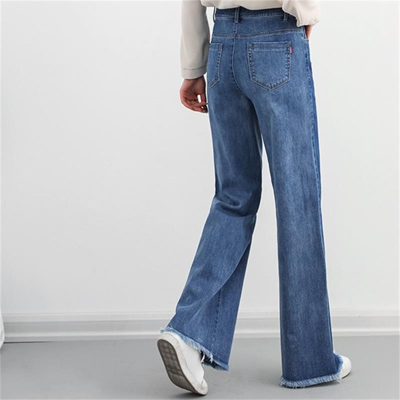 c426ea09e9 Mujeres Color Gratis Y Primavera Pierna Vaqueros Nueva Ancha Pantalones  Envío Otoño Moda Empalme Blue De Las Crudo ...