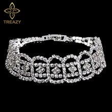 TREAZY Luxury Geometric Bracelets Bangles for Women Silver Plated Rhinestone Fashion Bridal Bracelets Wedding Jewelry Gifts