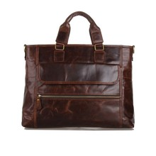 14 inch business briefcase laptop bag man genuine leather bags for men real leather handbags Business mens shoulder bag new 2015