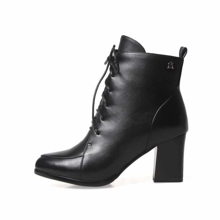 MLJUESE 2018 kadın botları koyu siyah renk lace up yüksek topuklu yarım çizmeler boyutu 33-43 düğün botları çizmeler parti elbise
