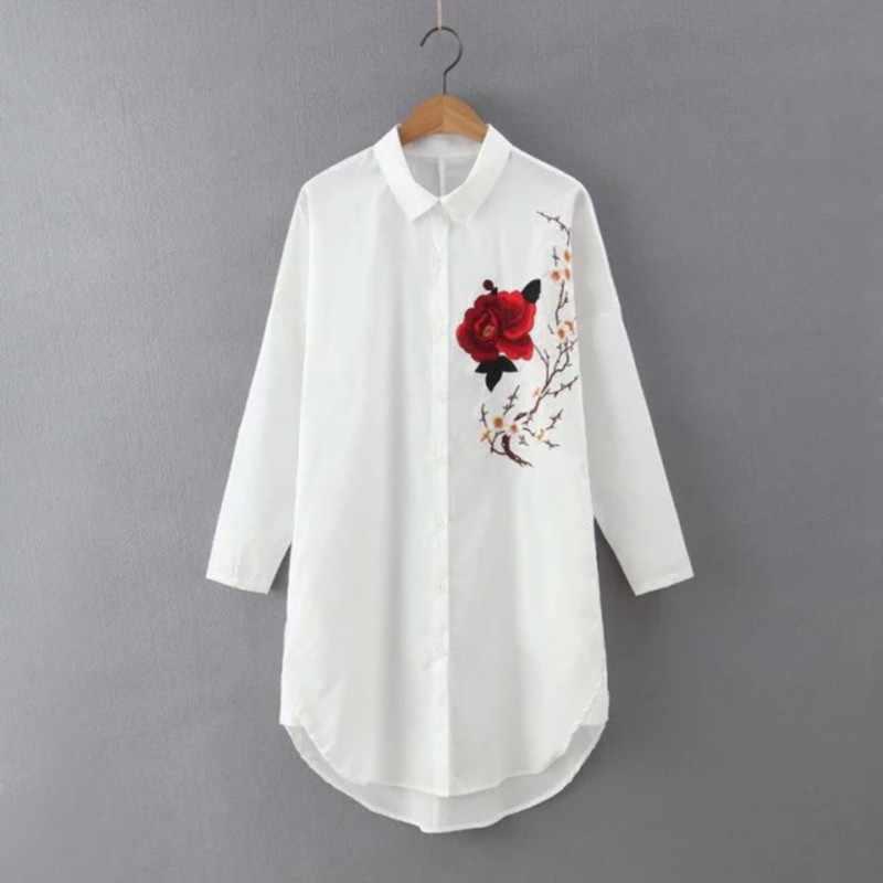 92444ab702d Для женщин Роза цветочной вышивкой модная длинная белая блузка лето с  длинным рукавом рубашка с отложным