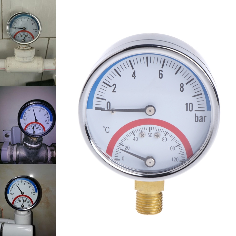 10 Bar Temperature Pressure Gauge Meter G1/4 Thread 2 in1 Thermometer Monitor Great Value