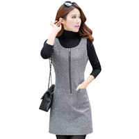 New Fashion Women Woolen Dress Autumn Winter Slim Sleeveless Tank Dresses Casual Zipper Bottoming Vestidos Robe
