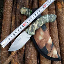Military knife Buck Hunting Knife 440C Blade Camouflage 58HRC Outdoor Survival lifesaving Army knife Surface Titanium