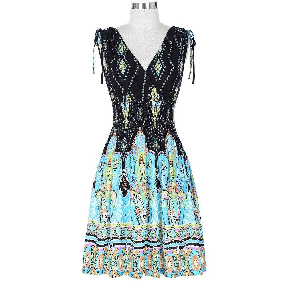 Classical Vintage Women Dress Vestidos Casual V neck Prints ...