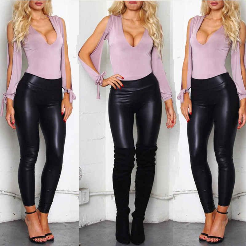 2018 Marca de Moda de Nova Mulheres PU de Couro Preto de Cintura Alta PU Calças Leggings Estiramento Skinny Pants Magro Tornozelo-Comprimento Legging Quente