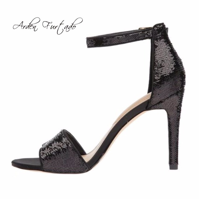 3c2d5121a87f8 Arden Furtado 2018 summer high heels fashion sexy bling bling buckle strap  sandals big size 40-43 sequined cloth stilettos shoes