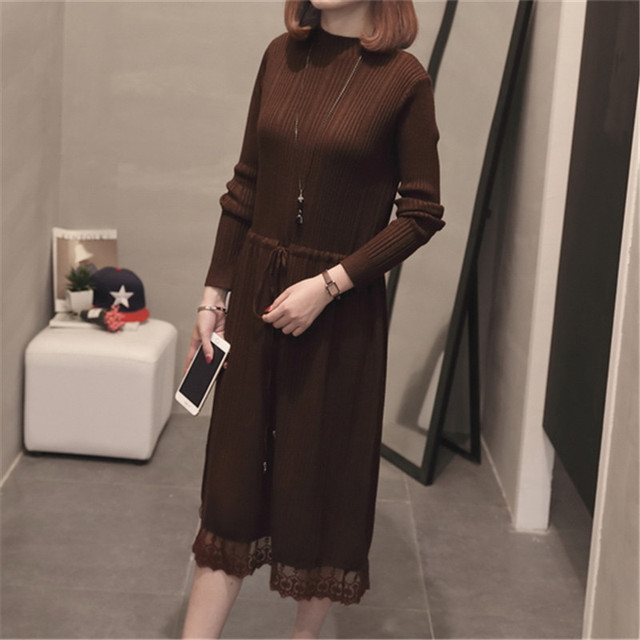 Bodycon Winter Knitted Sweater Dress Women Long Sleeve Sexy Lace Midi Dress Autumn Robe Slim Turtleneck Dresses Vestidos mujer