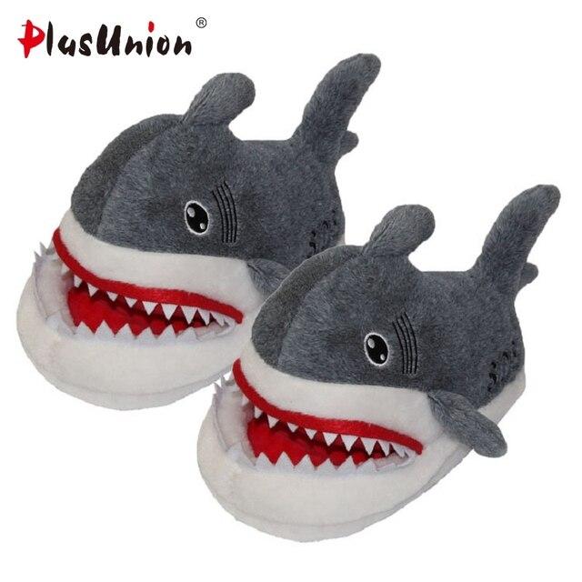 Shark musim dingin sandal hangat indoor anime unicorn datar sepatu hewan berbulu berbulu cosplay rumah kartun sandal mewah hangat