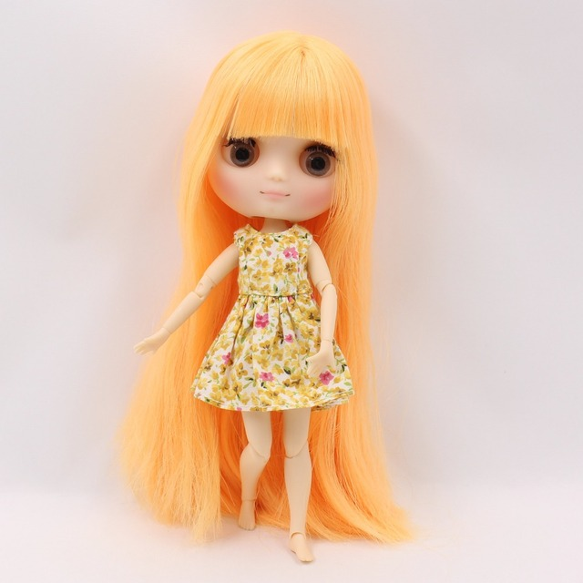 Middie blyth doll joint body matte face gray eyes mango yellow hair with bangs 20cm with gestures free shipping No.0577