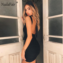 Nadafair V Neck Sleeveless Backless Sexy Bodycon Club Party Dress Women Mini Red White Wrinkled Casual Summer Dress