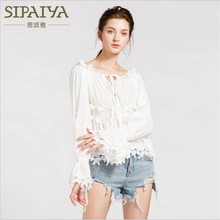 Lace Blouses Flare Patchwork