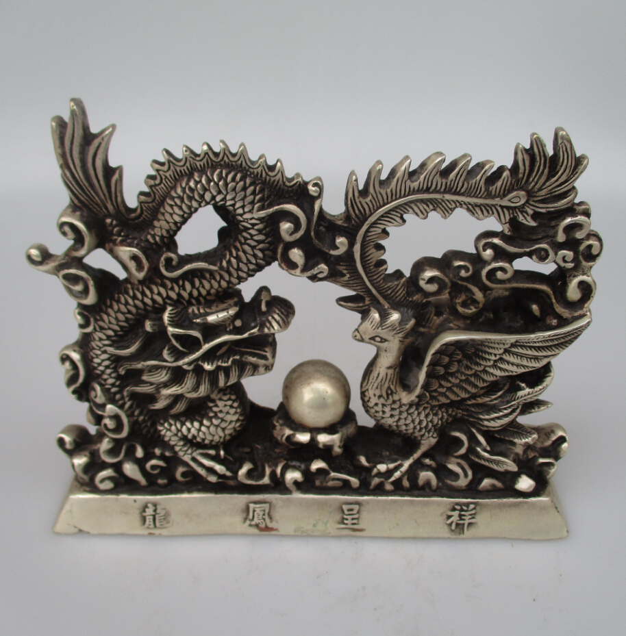 Antique antiques Collectible Decorated Old Handwork Tibet Silver Carved Dragon and Phoenix Statue/ Animals Sculpture