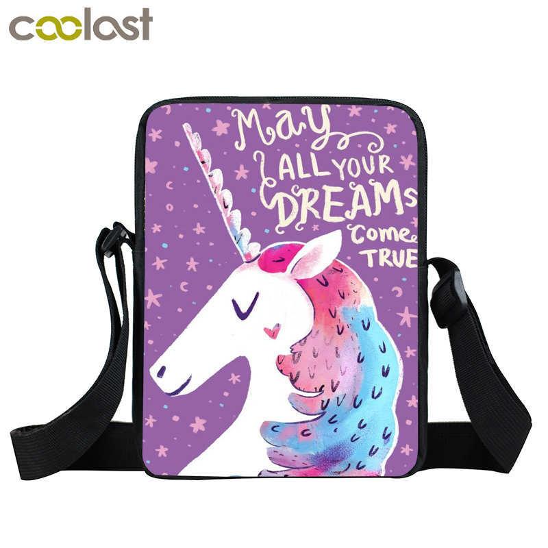 cartoon unicorn bag mini messenger bag children school