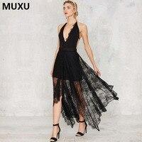 MUXU Bohemian Dress Plus Size Long Dress Sexy Lace Sleeveless BLACK Boho Chic Backless Summer Vestidos