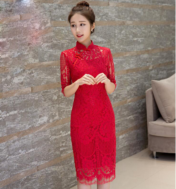 Overseas Chinese Red lace cheongsam wedding dress Women Vestido Oriental  Collars Sexy Long Traditional Summer Party Dress 05cd7c05500f