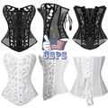 Women Fashion Corset Burlesque Costume Mesh Breathable Underbust Sexy Lingerie Waist Trainer Corsets Busters Black& White,S-2XL
