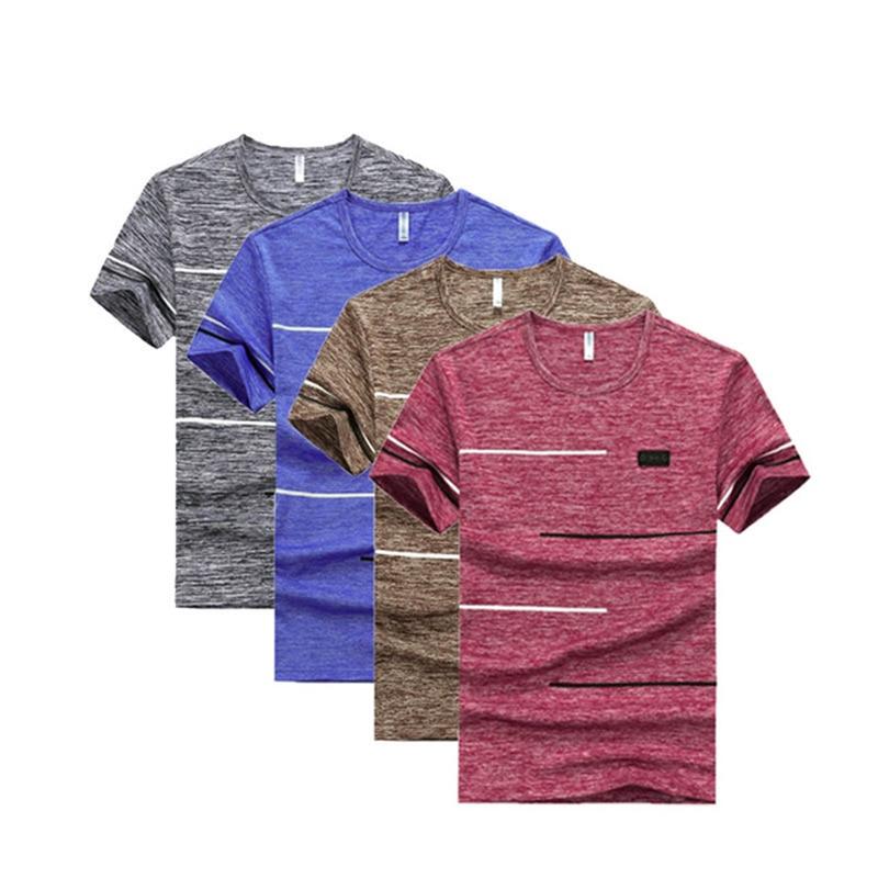 Мужская футболка с короткими рукавами, повседневная быстросохнущая брендовая футболка, 4 шт./лот, большие размеры, 9XL, на лето