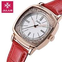 Julius Women S Lady Wrist Watch Quartz Hours Best Fashion Dress Bracelet Elegant Leather OL Rhinestone