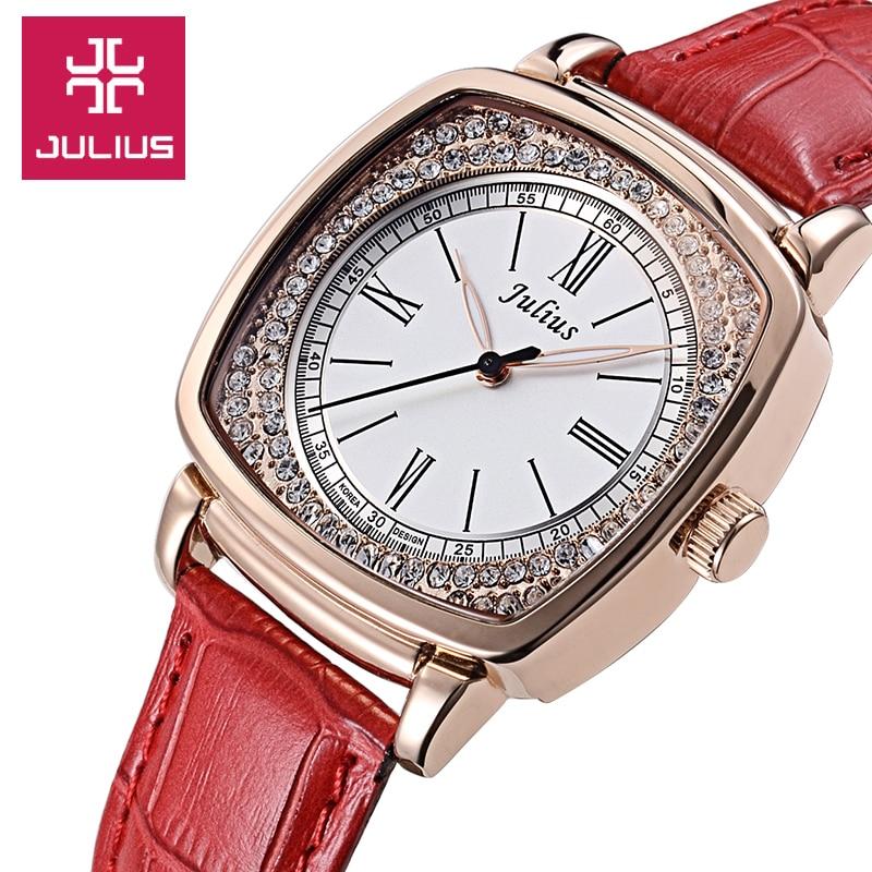 ФОТО Julius Women's Lady Wrist Watch Quartz Hours Best Fashion Dress Bracelet Elegant Leather OL Rhinestone Girl Birthday Gift JA-718