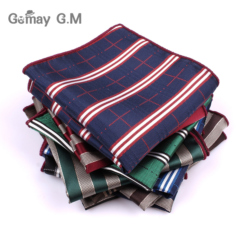 Men's Pocket Square Groom Hanky Jacquard Woven Striped Hankerchief For Men New Fashion Classic Suits Towel Hankies