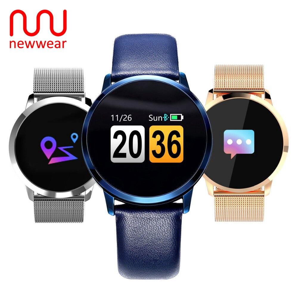 Newwear Q8 Farbe Touchscreen Smartwatch Smart 1080 P Uhr Männer Frauen IP67 Wasserdichte Sport-Fitness Tragbare Geräte Elektronik