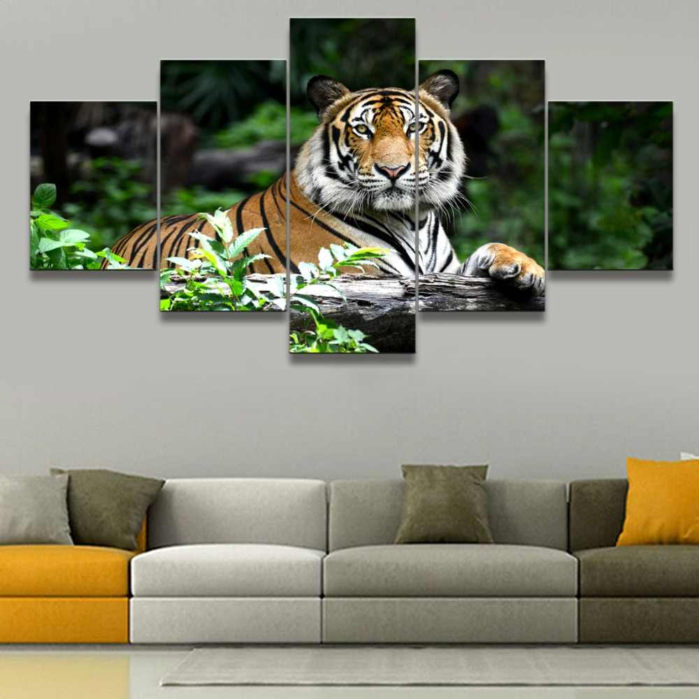 5 Piece HD Print Tiger Animal Home Decor Paintings Wall Art Modern Animal Wall Decor Canvas Painting Canvas Room Artwork