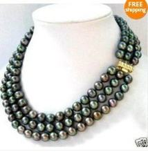 "Hot Fashion women designer cheap Jewellery 3 Row 7-8mm Natural Black Pearl Necklace 17-19""(China)"