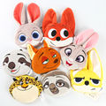 Zootopia plush coin pocket anime movie Zootropolis Judy Nick Flash Benjamin Finnick plush wallets bags free shipping