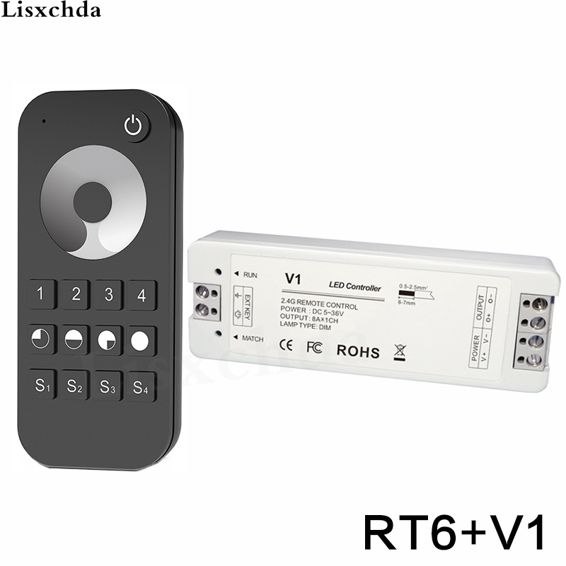 RF Remote Control 4-Zone for Led Strip Wireless 2.4G LED Dimmer Switch 5-36V