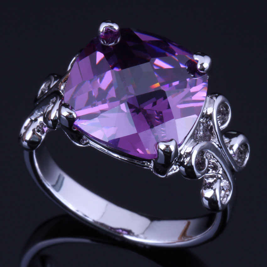 Flawless Square Purple Cubic Zirconia 925 Sterling Silver Ring For Women V0455