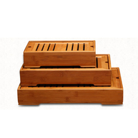 Bamboo Tea tray drawer style drainage tea tray large small storage tea tray Coffee tea table decoration Free Shipping