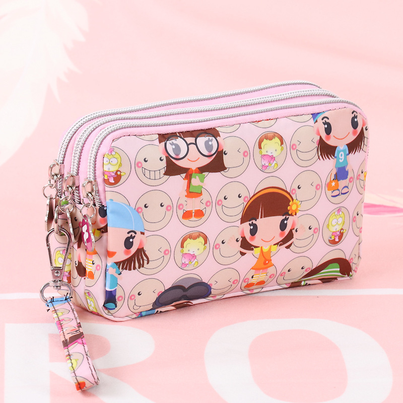 Cartoon Women Coin Purse Clutch Wristlet Wallet Bag Phone Key Case Makeup Bag Ladies Credit Card Holder Tote