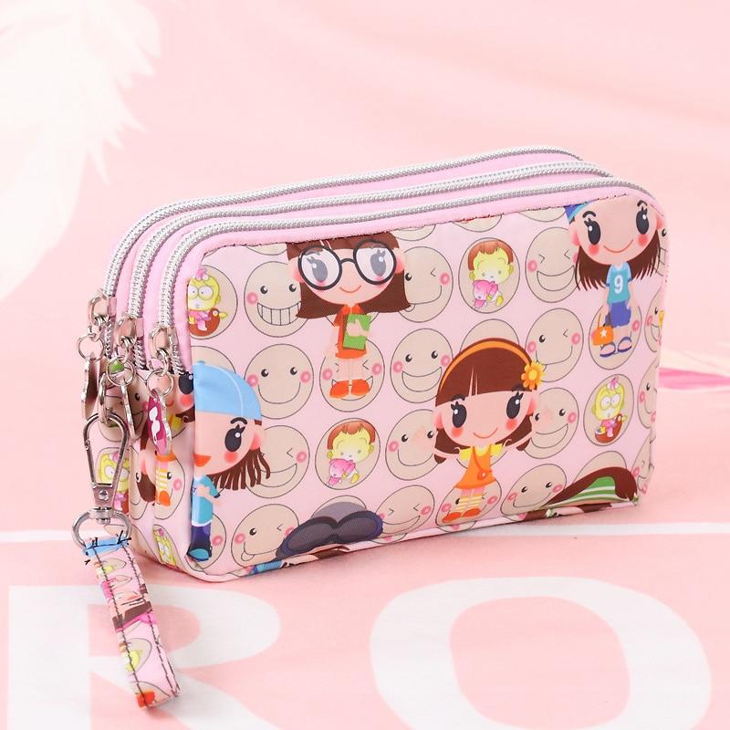 Cartoon Women Coin Purse Clutch Wristlet Wallet Bag Phone Key Case Makeup Bag Ladies Credit Card Holder Tote