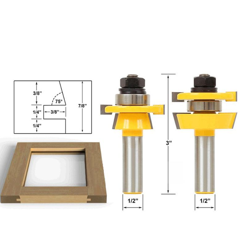 2pcs 1/2 Carbide Wood Milling Cutter Wood Cutter Shank Stacked Rail Stile Router Bit Home Woodworking Tool for cabinet door brand new wood cutter 3pcs lot raised panel cabinet door router bit set 1 2 shank carbide milling cutter milling tools fresa