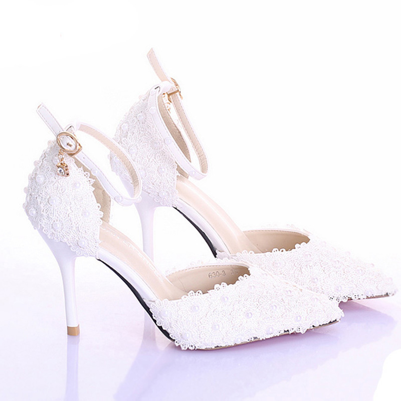 3 Inches High Heel Ivory Color Bridal Dress Shoes Women