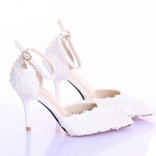 3 Inches High Heel Ivory Color Bridal Dress Shoes Women Party For Wedding Prom Pumps