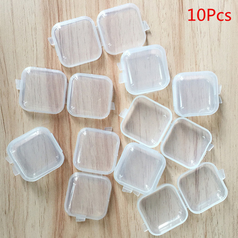 10 Pcs Clear Divided Storage Box New Empty Jewerly Nail Art Tips Small Beads Case Organizer Storage Plastic Jewerly Box