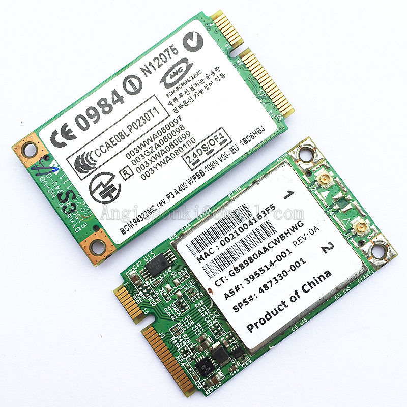 BRCM1036 487330-001 Dual Band WIRELESS-N WIFI CARD Replace AR9280 For HP Compaq 6930p 6830s 6735b 6730b 6535 Broadcom BCM94322MC