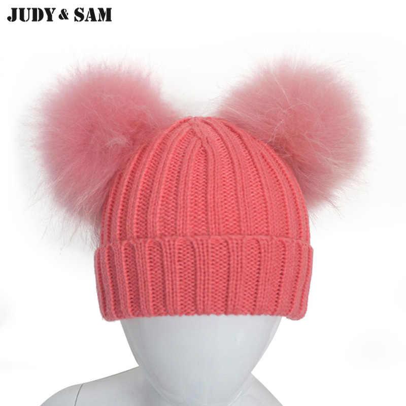 11c63b91 Judy&Sam Big Real Fur Pom Pom Hat for Boys and Girls Super Stylish Double Raccoon  Fur