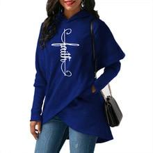 2018 New Fashion Faith Print Tops Sweatshirt Femmes Sweatshirts Hoodies Corduroy Loose Cotton Youth Creative Autumn
