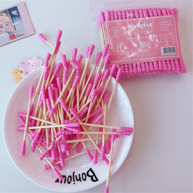 100 Pcs/Pack High Quality Pink Disposable Cotton Swabs Double Head Cotton Stick Cleaning Ear Buds Makeup Remover Swabs New