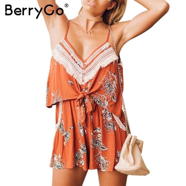 5b1d384d254 BerryGo Sexy v neck tassel print summer jumpsuit romper Women backless bow  boho short playsuit Sleeveless chiffon beach overalls