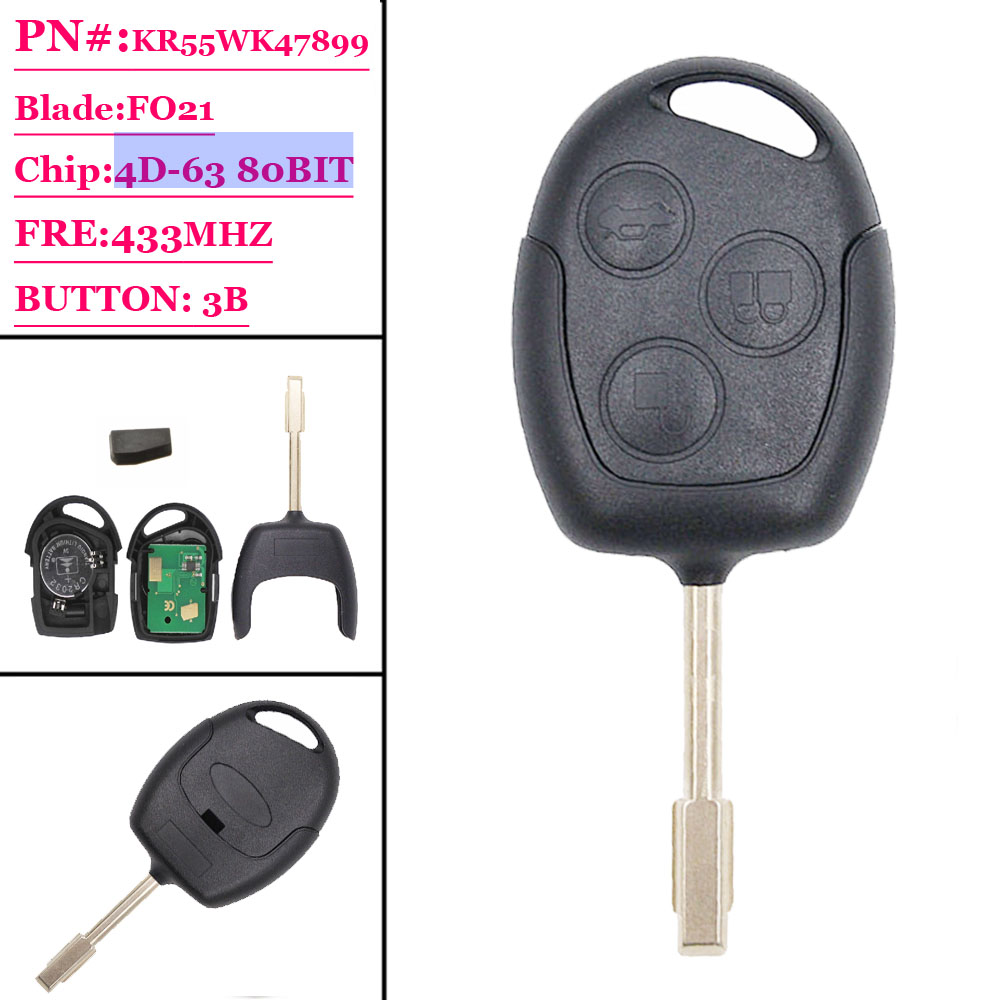 (1pcs)  Car Remote Key Suit For  4d-60 Chip Ford  Mondeo Fiesta Galaxy F021  Blade 3 Buttons 433Mhz
