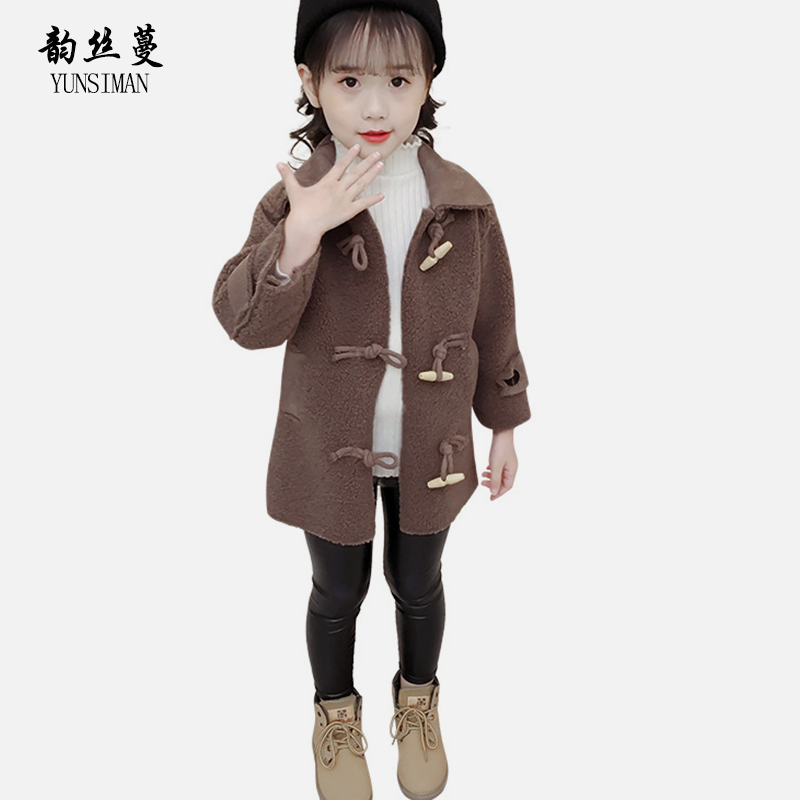 Kids Girls Wool Coat Long Sleeve Winter Clothes Horn Button Gray Warm Thicken Jacket Coat for Girl 6 7 8 9 10 11 12 Years 23A1A